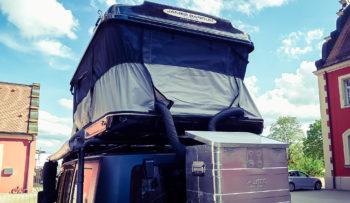 Dachzeltnomaden: Dachzelt-Heizung selbst gebaut. Die Diesel-Luft-Heizung Planar 2D im Alukoffer. Standheizung fürs Zelt. Aussenansicht der Zeltheizung. James Baroud Evasion. Picture by TRAVELcandies on Tour.