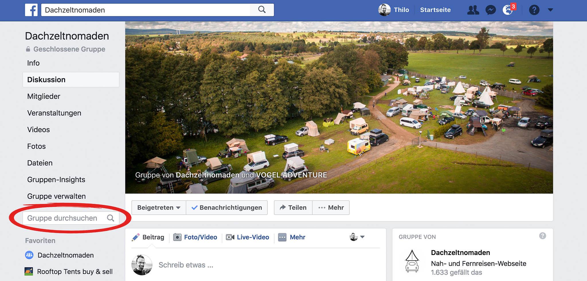 Dachzeltnomaden Facebook Gruppe durchsuchen