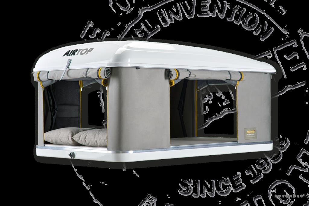 autohome Airtop dachzelt im geöffneten Zustand mit offenen Türen und Fenstern