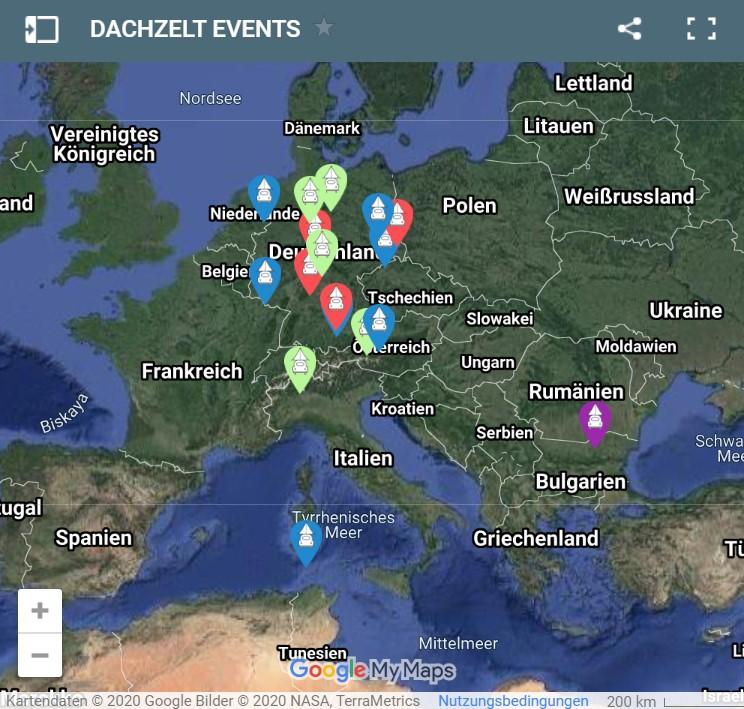 Karte mit allen DACHZELT EVENTS als PINS