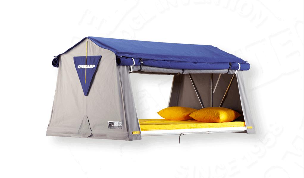 autohome Overcamp dachzelt im geöffneten Zustand mit offenen Türen und Fenstern
