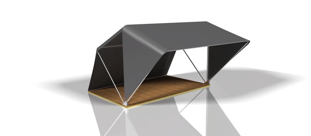 3D Entwurf des selbst gebauten Dachzelts