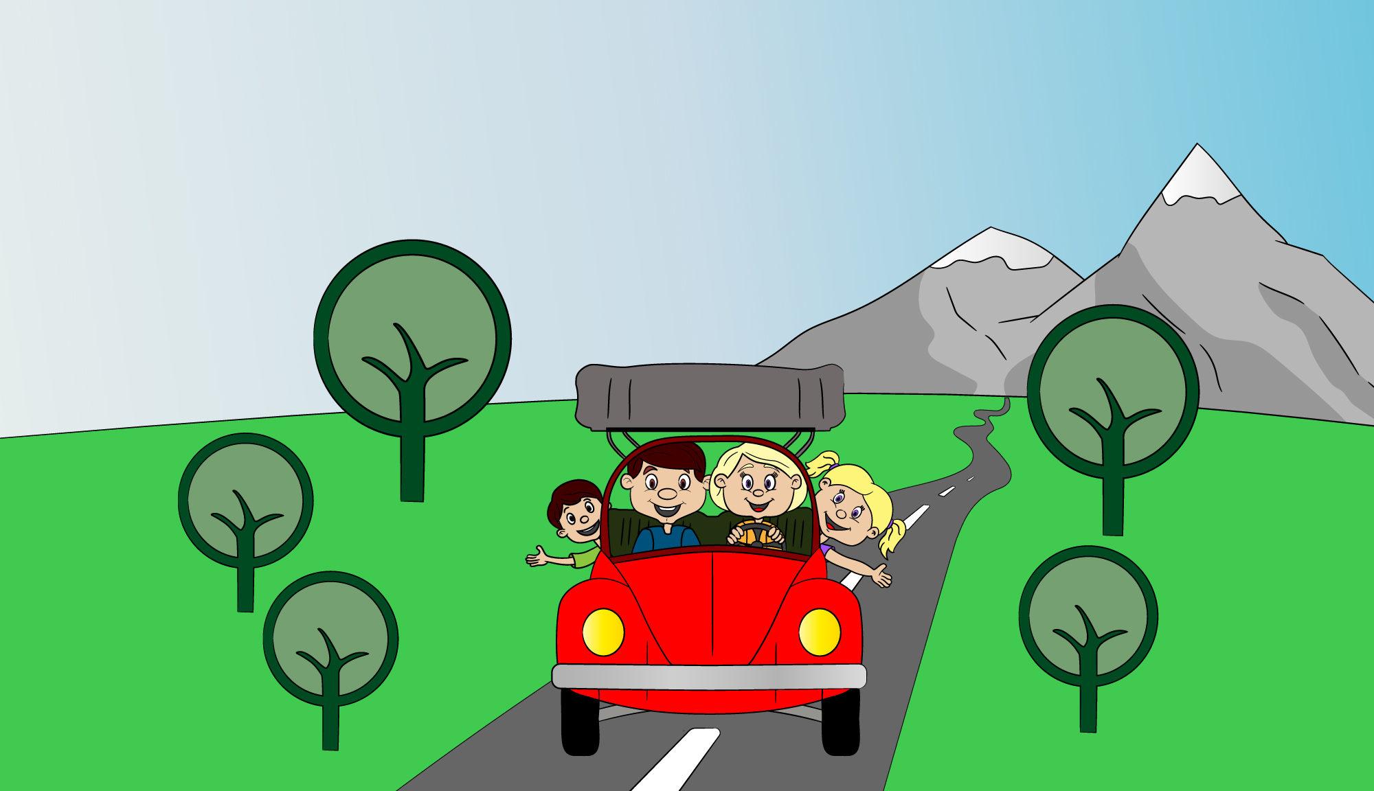 Auto m it Dachzelt und Familie mit Kindern vor Bergen und Bäumen