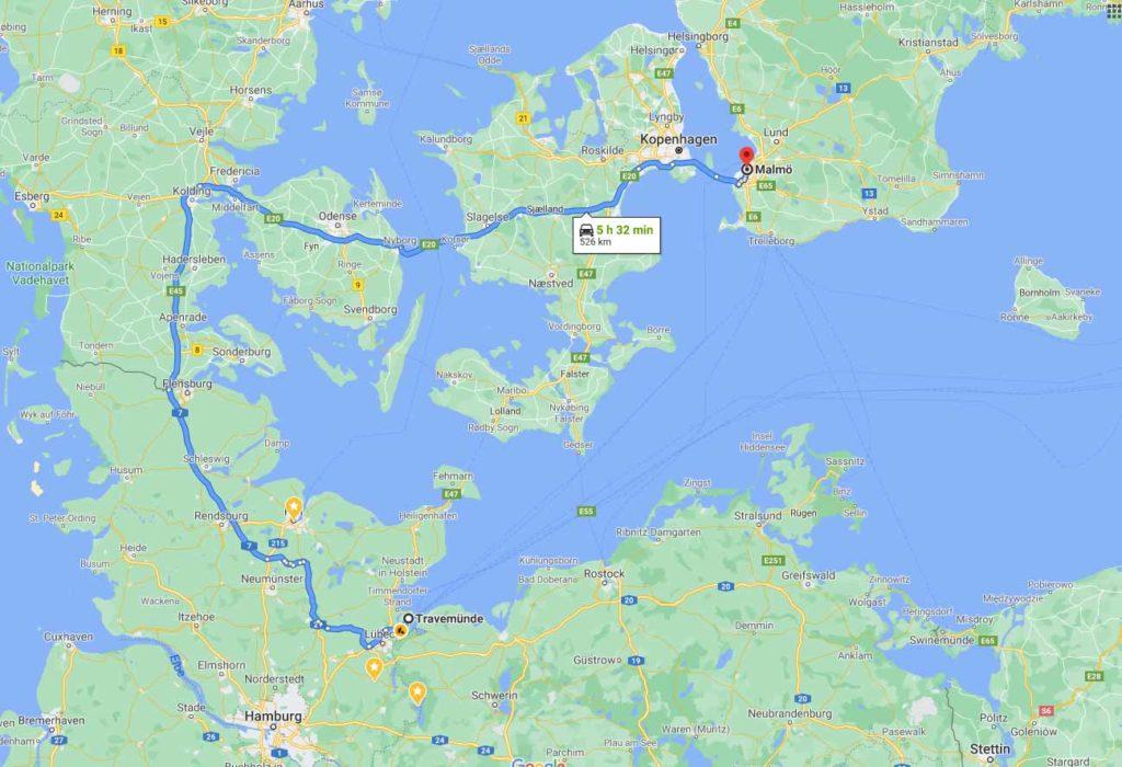 route nach nach schweden ohne fähre