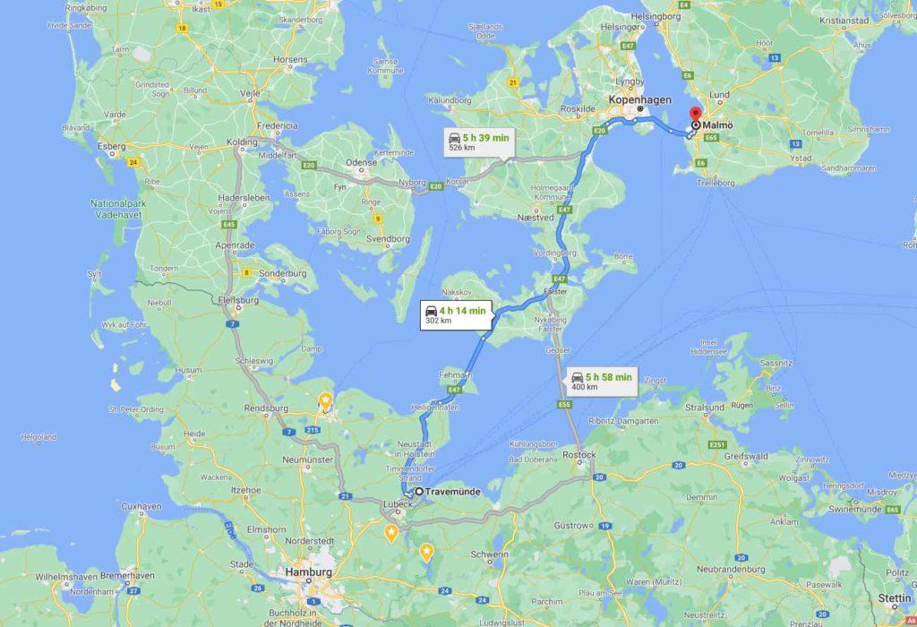 Route mit dem Auto Puttgarden Rödby