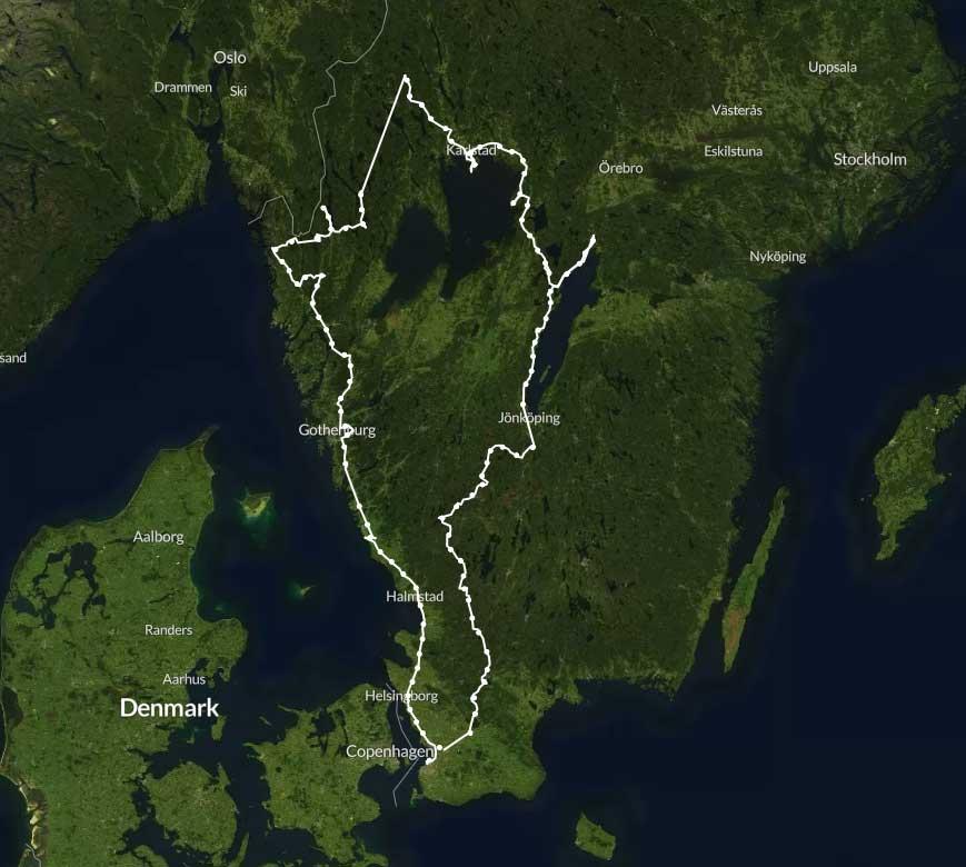 routenaufzeichung schweden reise