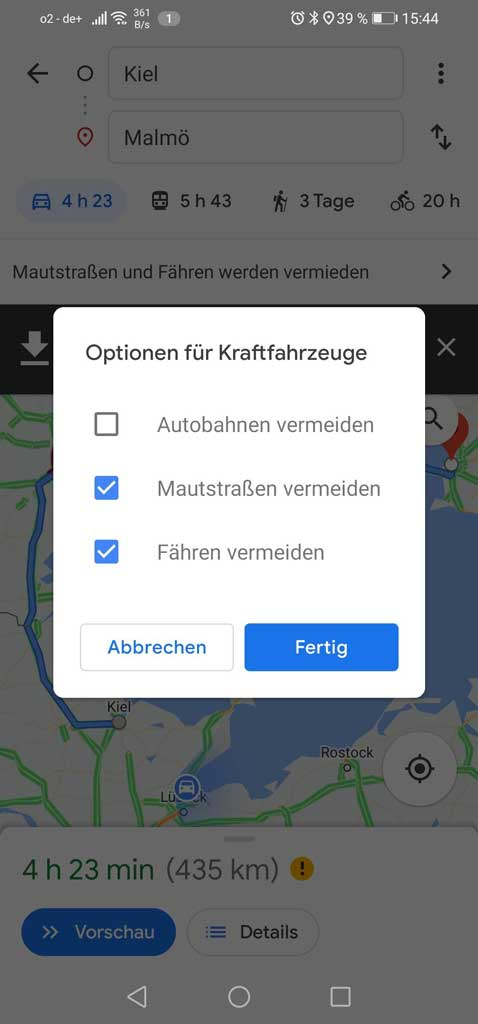Routenoptionen bei google maps